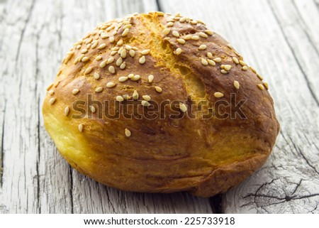 Home made bread with sesame - stock photo