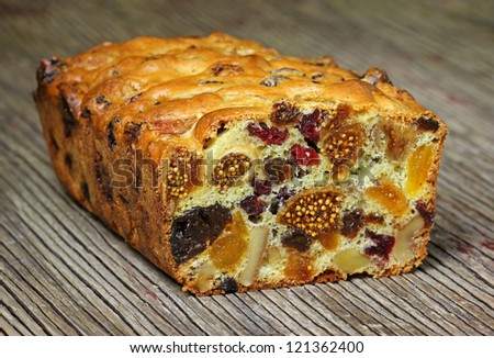 home made cake with fruits - stock photo