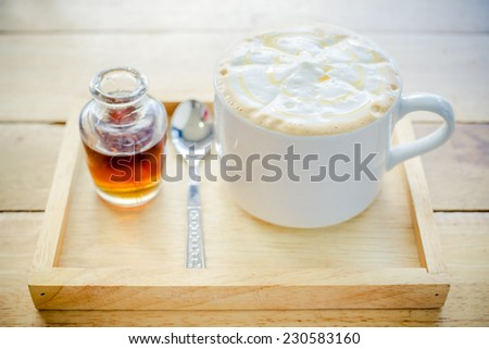Home made caramel coffee in vintage colour tone. - stock photo