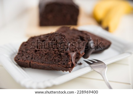 Home made Chocolate Banana Bread - stock photo