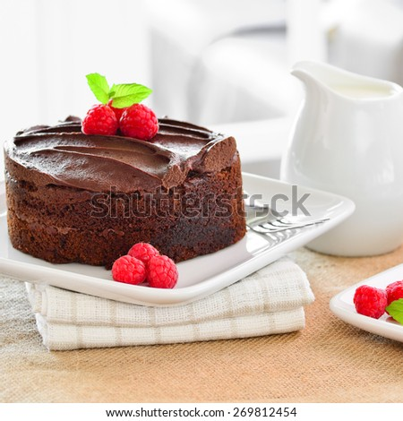 Home made chocolate cake. - stock photo