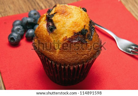 Home made chocolate chip muffin with blueberry