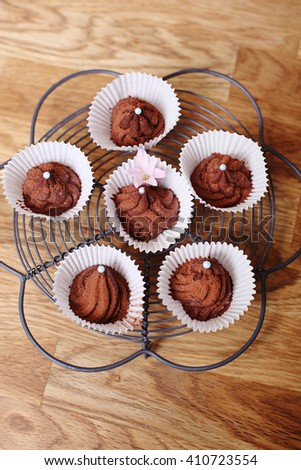 Home made chocolate truffle pralines with dark chocolate - stock photo