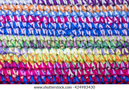 home made colored crochet blanket - stock photo