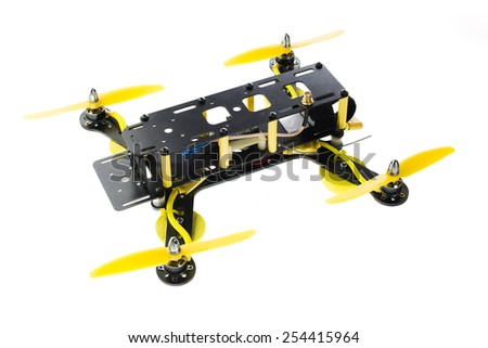 Home made drone isolated on white - stock photo