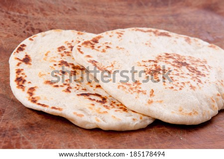 home made flat bread - stock photo