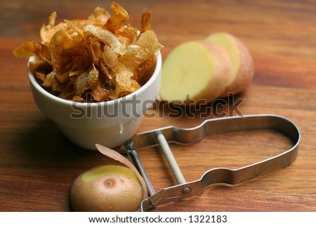 home-made french fries wide view - stock photo