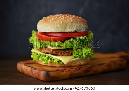 Home made hamburger with vegetables, lettuce and cheese on cutting board - stock photo