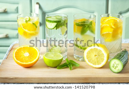 Home made healthy vitamin-fortified water. - stock photo