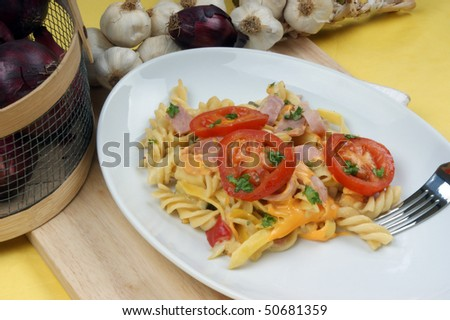 home made noodle and organic tomato with ham