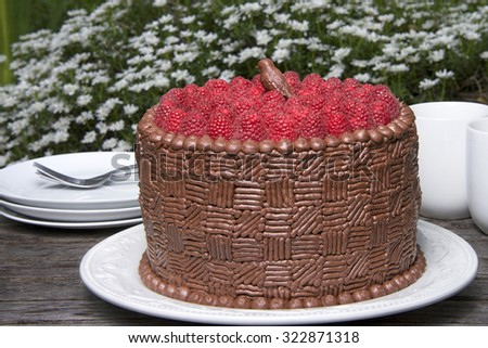 Home made original design chocolate cake with fresh raspberries on top. Homemade chocolate bird on top displayed on wood table with plates, forks and cups, outside with flowers in background - stock photo