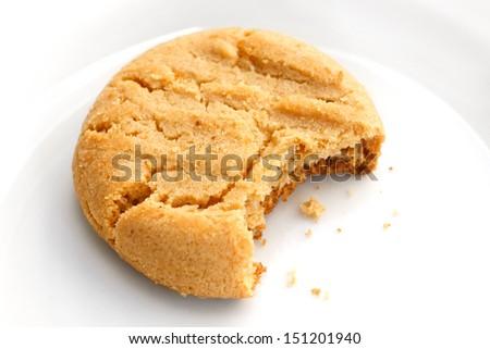 Home made peanut butter cookie bitten - stock photo