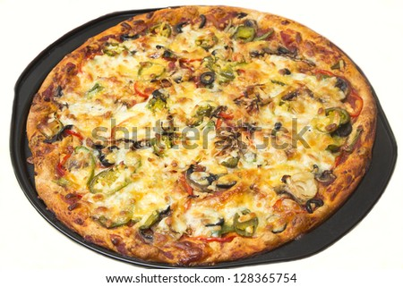 Home made pizza on baking tray with white background - stock photo
