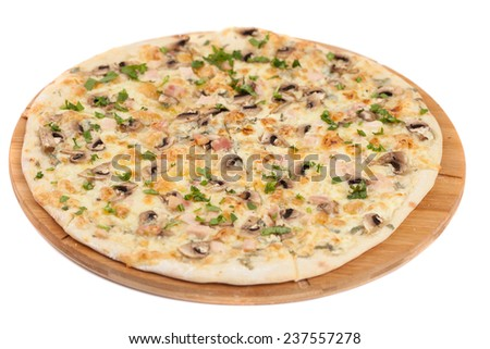 Home made pizza with mushrooms on white - stock photo