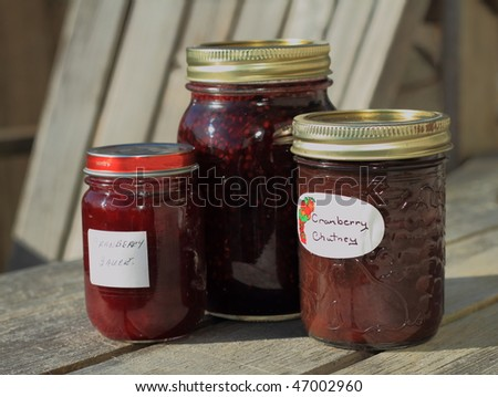 Home made preserves in the sun - stock photo