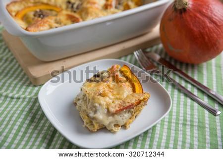 Home made pumpkin lasagna - stock photo
