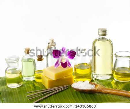 Home-made soap in wellness still life - stock photo