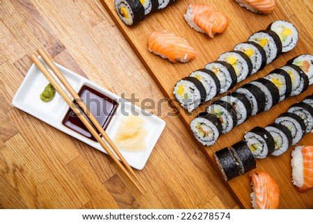home made sushi, ready to eat - stock photo