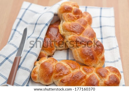 Home made sweet braided bread  - stock photo