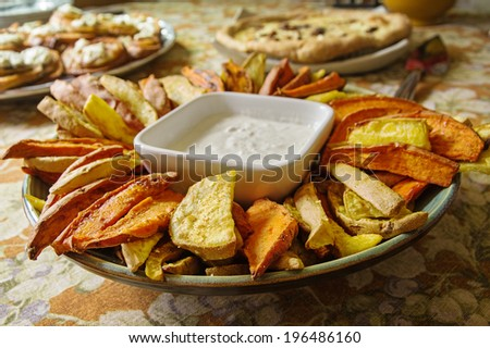 home made sweet potato appetizer with shallow depth of field - stock photo