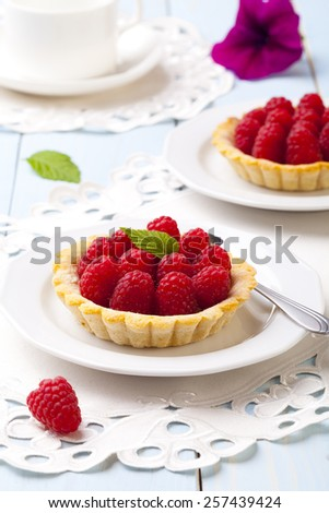 Home made tartlets with raspberries - stock photo