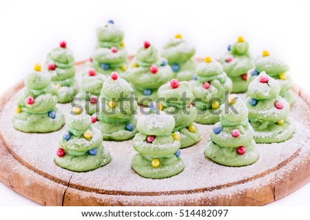 Home made tree-like Christmas cookies