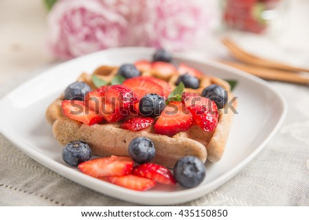 home made Waffles with berries
