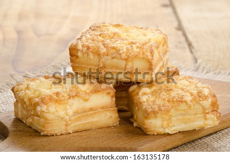 home made warm square cheese scone
