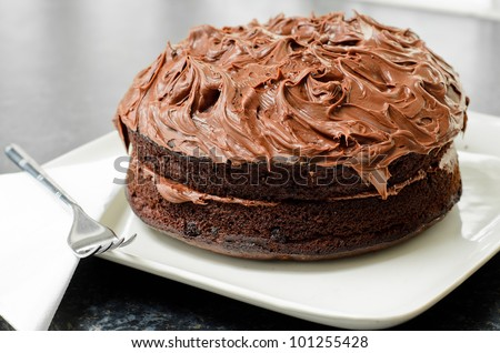 Home made whole chocolate cake with chocolate icing - stock photo