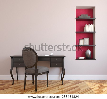 Home office interior. 3d render. - stock photo