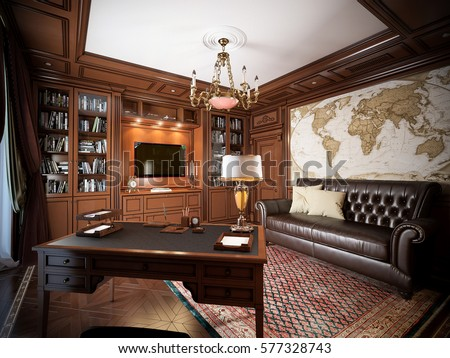 home office interior design in classic style 3d rendering home o34 office