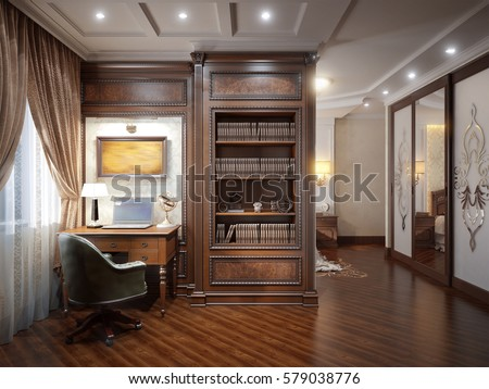 home office interior design classic style stock illustration