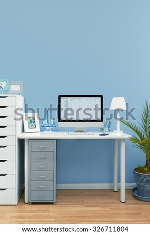 Home office interior set up - stock photo