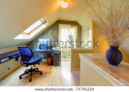 Home office on the second floor of the small house in Seattle. - stock photo