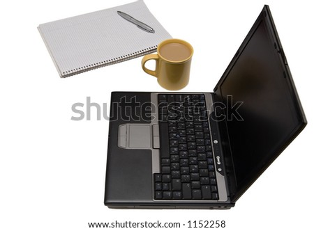 Home office setup - laptop, coffee, paper isolated on white - stock photo