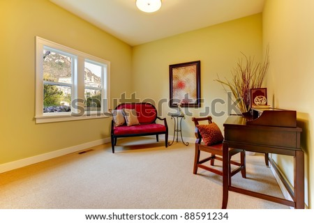 Home office staged with golden and beige. - stock photo