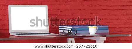 Home office with laptop computer and clean screen on a desk (3D Rendering) - stock photo