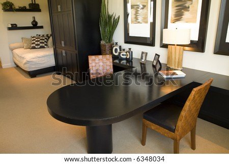 Home office with stylish decor. - stock photo