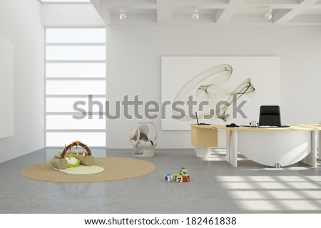 Home office with toys and desk with chair - stock photo
