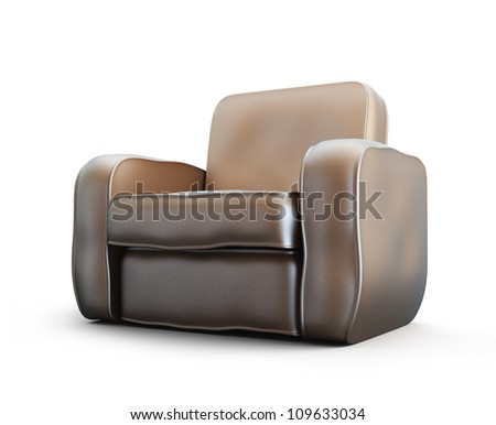 home old leather armchair isolated at white background - stock photo