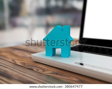 Home on computer keyboard background. Blur background
