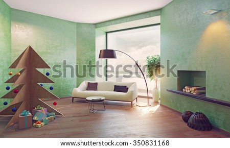 home on the coast interior with plywood Christmas tree. 3d concept - stock photo