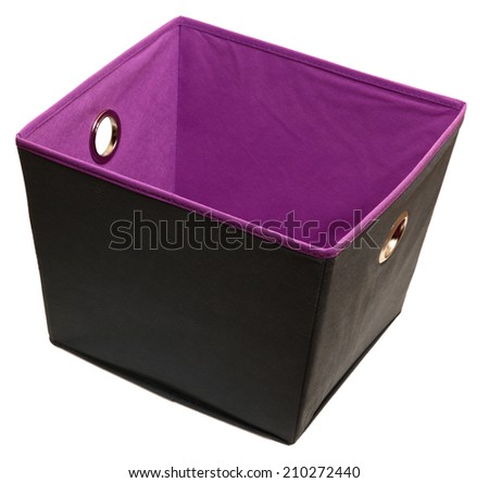 Home or Office canvas storage or file box over white. Gray and purple. - stock photo