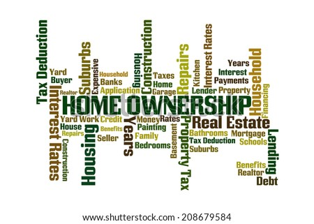 Home Ownership word cloud on white background - stock photo