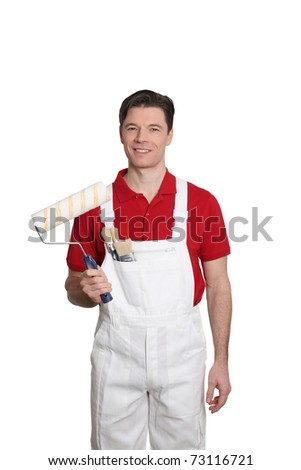 Home painter standing on white background