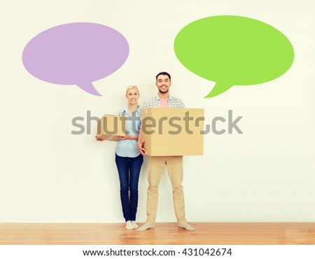 home, people, repair and real estate concept - happy couple holding cardboard boxes and moving to new place with empty blank text bubbles - stock photo