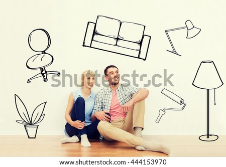 home, people, repair, moving and real estate concept - happy couple of man and woman sitting on floor at new place over interior doodles background - stock photo