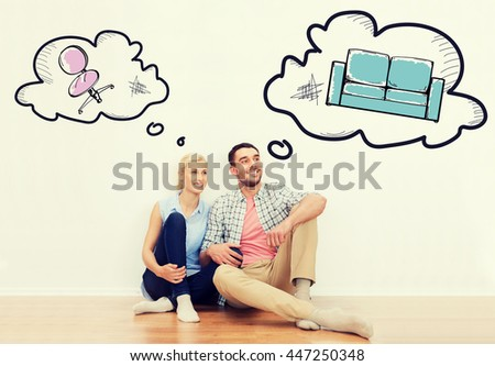 home, people, repair, moving and real estate concept - happy couple of man and woman sitting on floor at new place with text bubbles and furniture doodles - stock photo
