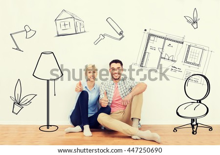 home, people, repair, moving and real estate concept - happy couple sitting on floor and showing thumbs up at new place over interior doodles background - stock photo