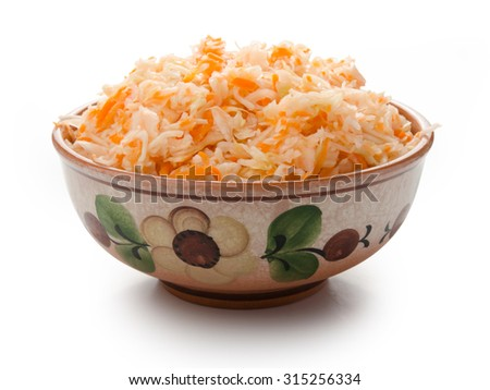 Home pickled cabbage on a white isolated background - stock photo